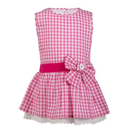 Gingham Chex Tunic With Bow & Lace At Hem-pink - Soul Fairy