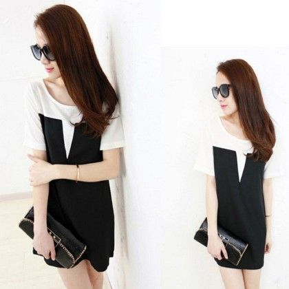 Chiffon Summer Black & White Colored Top - Style O Style