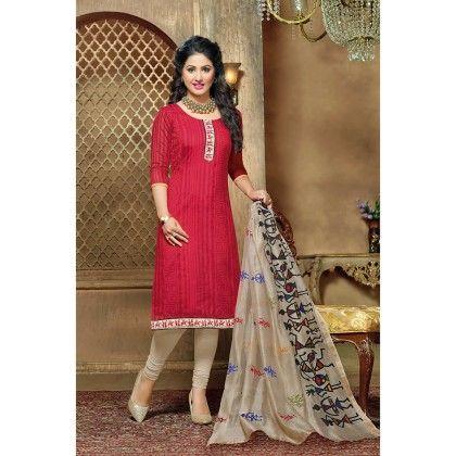 Pink Semistitched Printed Dress Material - Fabfella