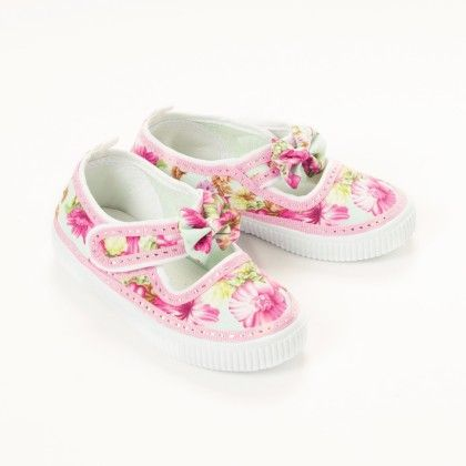 Pink Floral Print With Bow Mary Jane - De Berry