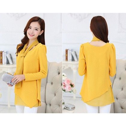 Yellow Overlap Casual Top - STUPA FASHION