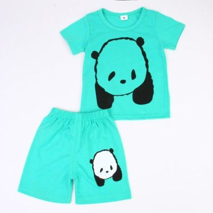 Cute Bear Print Top & Shorts Set - Turquoise - Ton