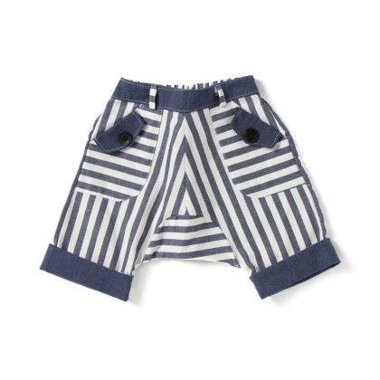 Blue And White Stripes Shorts - CroMagnon