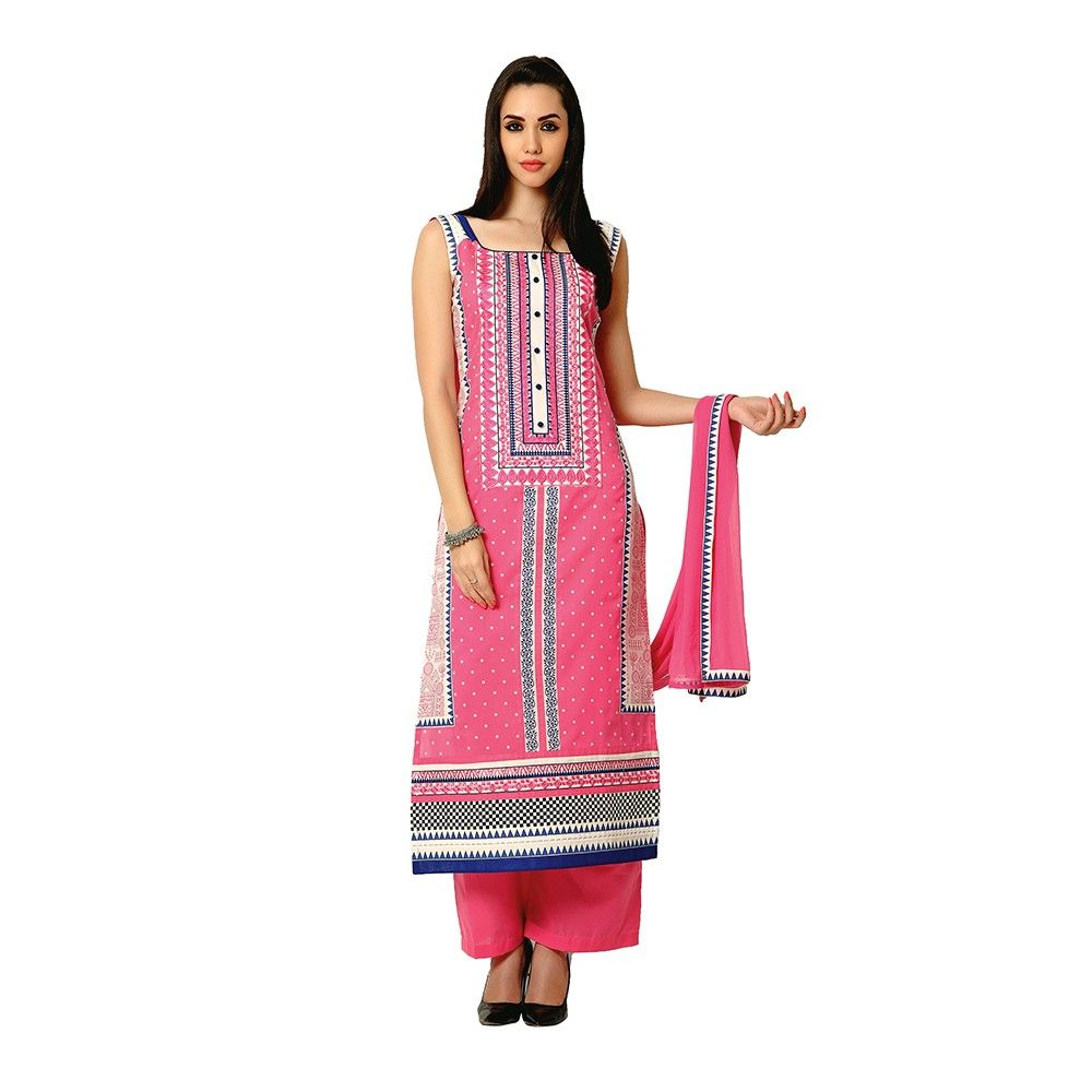 Exclusive Dress Material With All Over Front And Back Multi Design Print With Printed Dupatta - Pink - Varanga