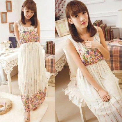 White Floral Print Summer Long Dress - Dell's World