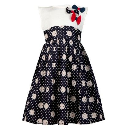 Jersey Yoke Printed Dress With Bow Detail-navy - Soul Fairy