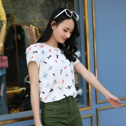 Butterfly Print White Colored Top - Dell's World