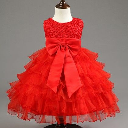 Cute Frill Dress With Pearls Highlighting-red - Mauve Collection