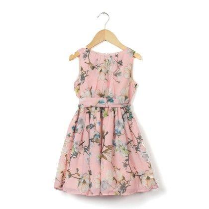 Peach Floral Sleeveless Dress - Cranberry Club