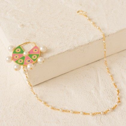 Pearl Beaded Colorful Nose-pin In Golden Finish - Voylla