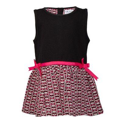 Low Waist Knit Woven Bus Print  Dress-black - Soul Fairy