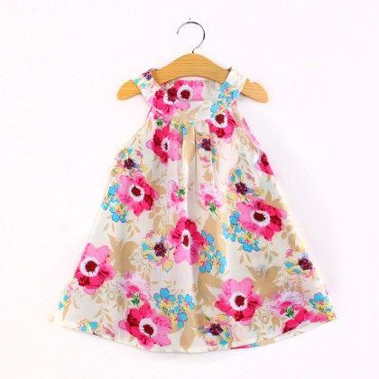 Pink Flower Print Halter Neck Dress - Child NY