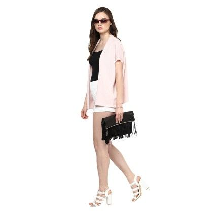 Knitted Poncho Cape Wrap Top Pink Pearl - Pluchi