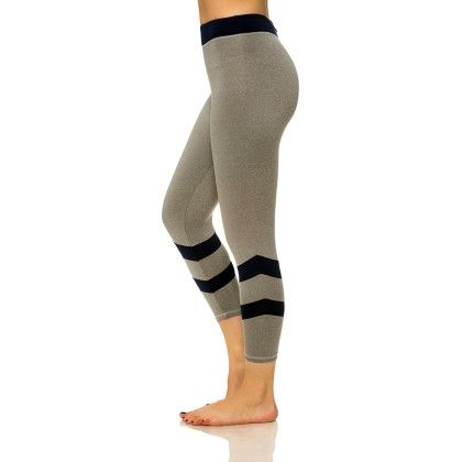 Double Stripe Capris With Media Pocket Gray And Navy - S2 Sportswear