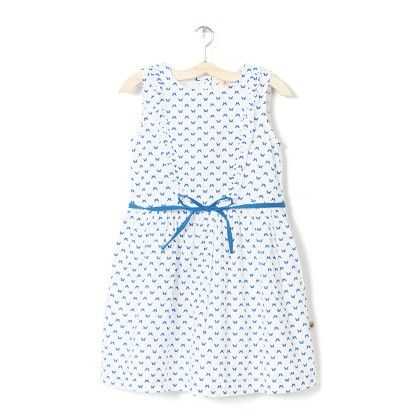 Girl's White & Blue Printed A-line Dress - Budding Bees