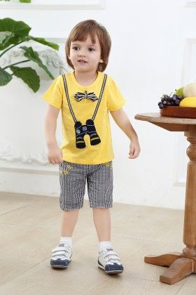 Cute Binocular Print T-shirt With Bow And Shorts Set - Yellow - Dapper Dudes