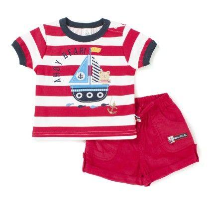 Ahoy Bear Print Tee & Short Set - Red - TOFFYHOUSE