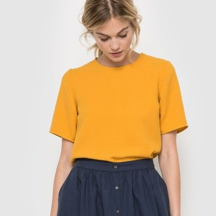 Orange Basic Round Neck Top - La Redoute
