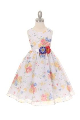 White Floral Dress With 3d Flower - Magic Fairy