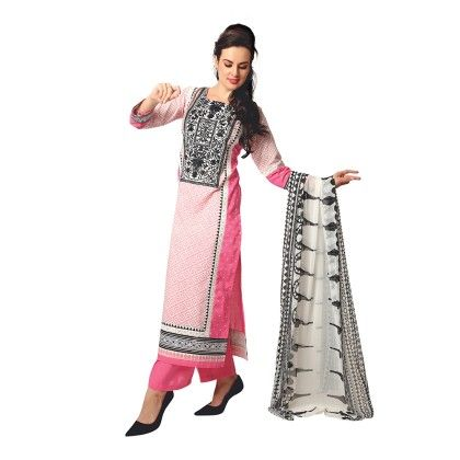 Exclusive Dress Material With All Over Front And Back Multi Design Print With Printed Dupatta-pink - Varanga