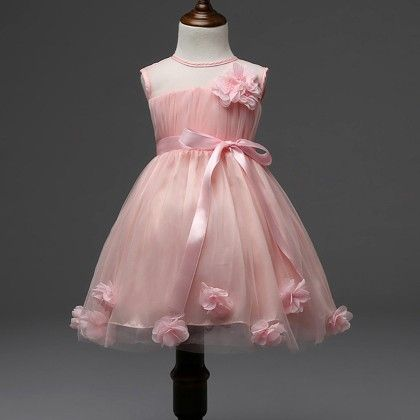 Cute And Trendy Peach Dress With Flowers And Pearls - Mauve Collection