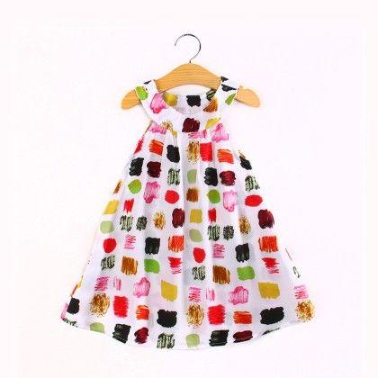 Trendy Paint Blocks Print Halter Neck Dress - Child NY