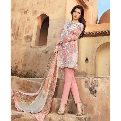 Beautiful Pakistani Style Printed Cotton Dress Material - Peach - Afreen
