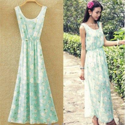 Light Blue Floral Print Summer Long Dress - Dell's World