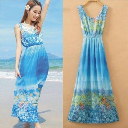 Floral Print Summer Long Dress - Dell's World