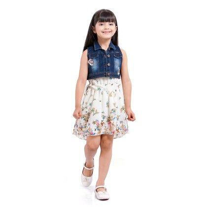 Cream Coloured Knee Length Dress Teamed With Denim Jacket - Tiny Baby