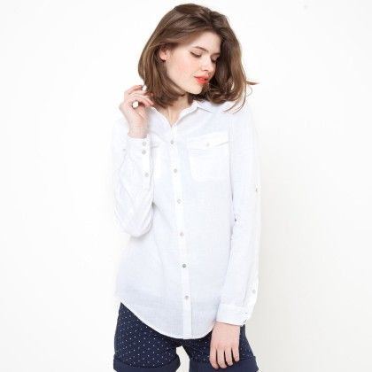 Two Pockets Buttoned Down Shirt - White - La Redoute