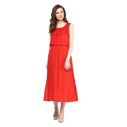 Red Lace Maxi Dress - StyleStone