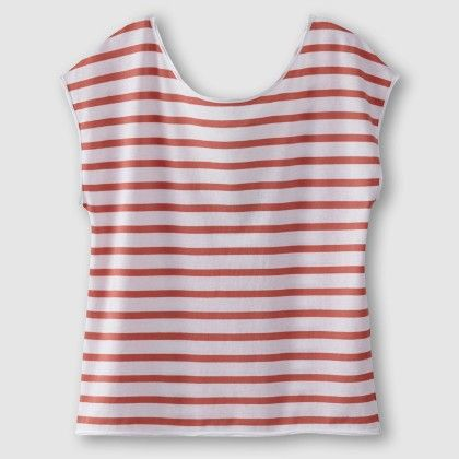 Striped Tee With Lace At Back - Orange And White - La Redoute