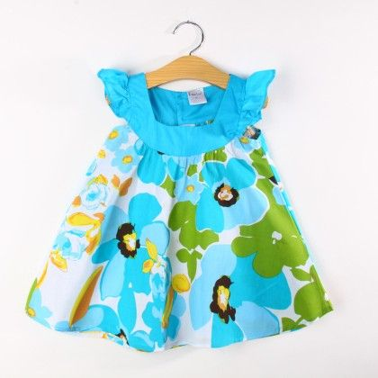 Cute Floral Print Flared Dress - Blue - Koolee