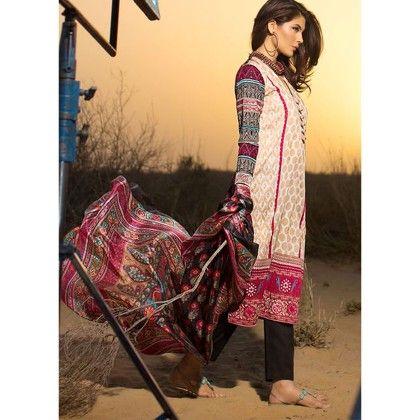 Sana Safinaz Pink & Gray Semistitched Suit - Mauve Collection