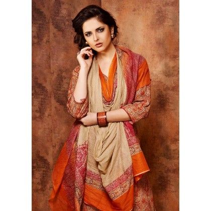 Beige & Orange Printed Cotton Dress Material - Afreen