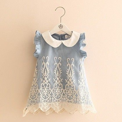 Cute And Chic Lace Denim Tunic - Mauve Collection