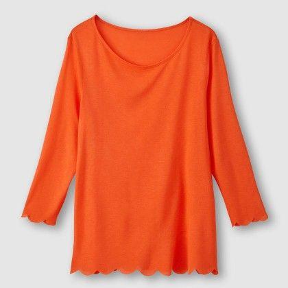 Rouge Orange Cut Out Hem Top - La Redoute