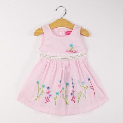 Cute Pink Sleeveless Floral Lace Dress - FlowerButterfly