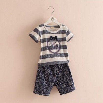 Stripe Print Tshirt And Print Pants - Grey - Mauve Collection