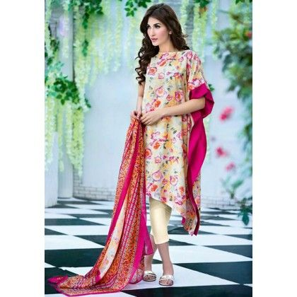 Beautiful Pakistani Style Floral Printed Cotton Dress Material - Beige & Pink - Afreen
