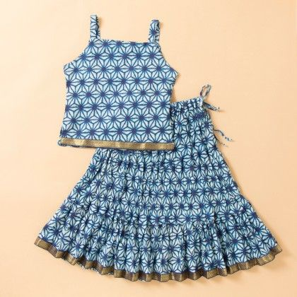 Jaipuri Printed Long Cotton Skirt Set - Blue - BownBee