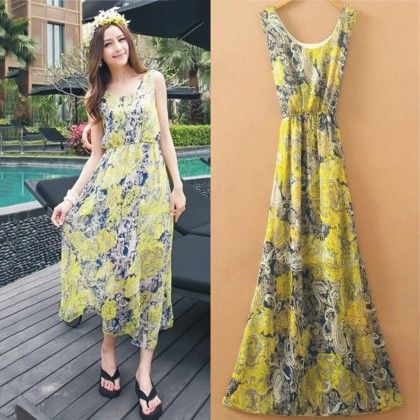 Yellow Floral Print Summer Long Dress - Dell's World