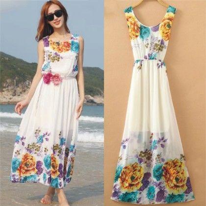 Big Floral Print Summer Long Dress - Dell's World