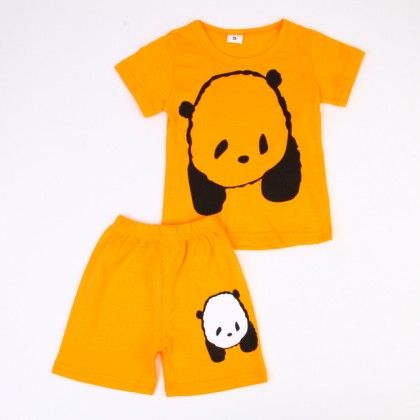 Cute Bear Print Top & Shorts Set - Yellow - Ton