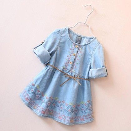Embroidery Cute Denim Tunic With Belt - Mauve Collection