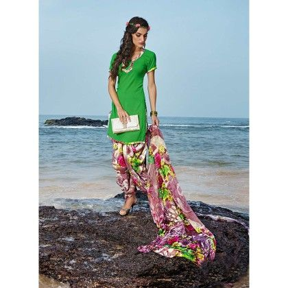 Green With Multicolor Salwal And Dupatta Dress Material - Balloono