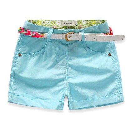 Sky Blue Cotton Shorts - Lilpicks Couture