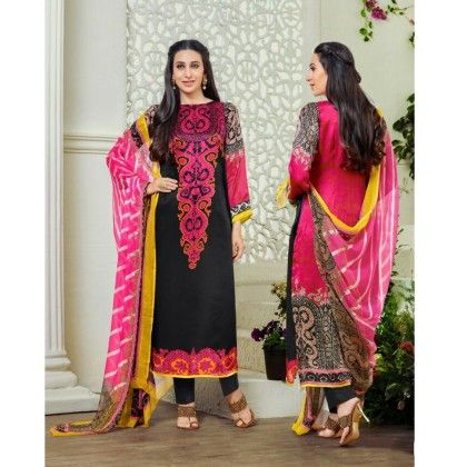 Pink & Black Embroidered Unstitchd Suit - Naari Aavran