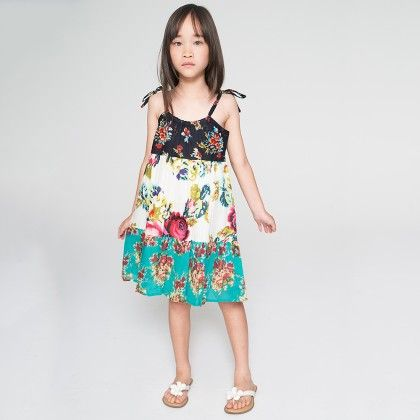 Mint & Black Floral Tiered Dress - Toddler & Girls - Yo Baby